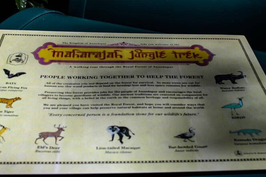 Map for Disney's Maharajah Jungle Trek