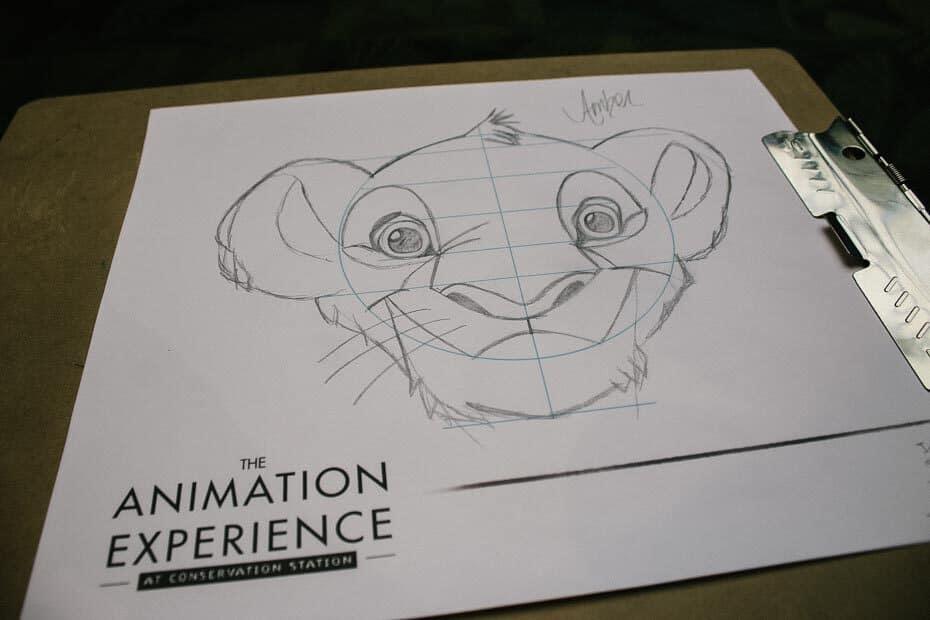 Simba Drawing at Rafiki's Planet Watch
