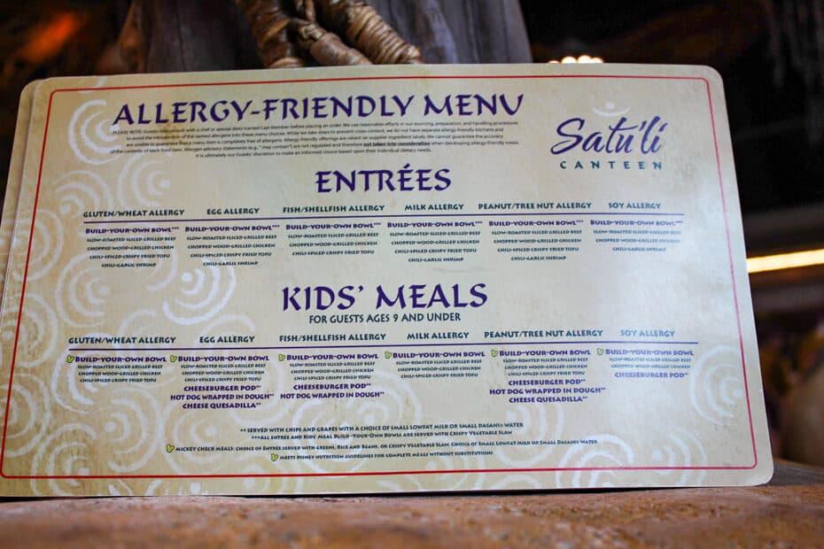 Satuli Canteen Allergy Menu